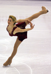 VANESSA GUSMEROLI PERFORMS SHORT PROGRAM AT WORLD FIGURE SKATING CHAMPIONSHIPS.