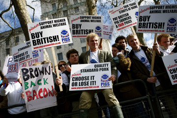 Farmers from the National Pig Association protest against falling pork profits outside Downing Street in central London