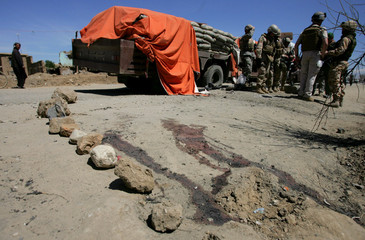 Blood stain is visible outside the main U.S. military base in Bagram north of Kabul Afghanistan
