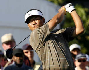 Choi of South Korea watches tee shot in first round of Bay Hill Invitational PGA golf tournament