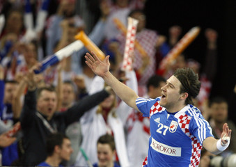 Croatia's Cupic celebrates goal against Poland during their Men's World Handball Championship match in Zagreb