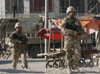 British soldiers patrol in Musa Qala, Afghanistan