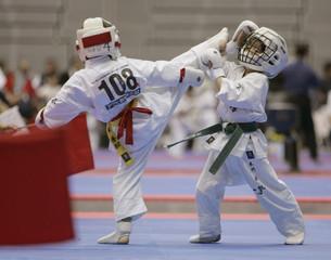 Japan's Hideki Higashi (L) kicks Aki Itokawa in the 7-year-old boy's  competition of International Karate Friendship 2007 in Chiba