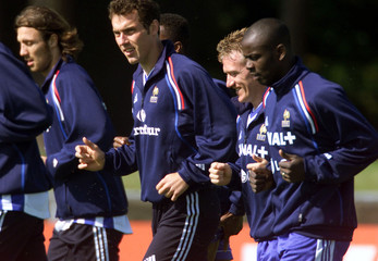 FRENCH SOCCER PLAYERS AT TRAINING SESSION IN KNOKKE-HEIST BELGIUM.