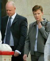 PARENTS OF HOLLY WELLS, KEVIN AND NICOLA, LEAVE THE OLD BAILEY INLONDON.