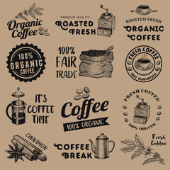 Set of vintage coffee labels, vector
