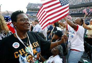 Participants celebrate in the final day of the 2008 Democratic National Convention celebrate in Denver