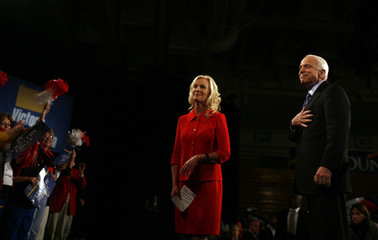 U.S. Republican presidential nominee Senator John McCain (R-AZ) and his wife Cindy attend a rally in Moon Township, Pennsylvania