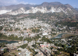 An aerial view of Muzaffarabad, capital of Pakistan-controlled Kashmir, which was badly damaged by the October 8 earthquake