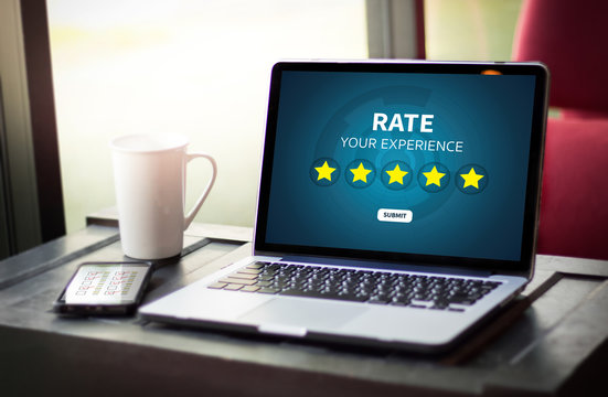 Businessman holding five star rating  Review increase rating or ranking, evaluation and classification concept
