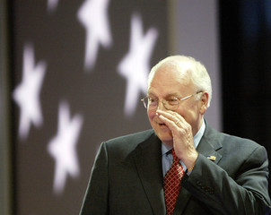 Vice President Cheney calls out from podium on Republican National Convention stage.