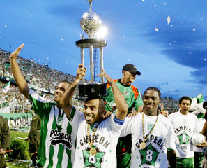 Atletico Nacional players celebrate after winning Colombian soccer championship, Medellin.