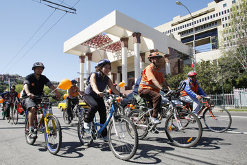 Demonstrators ride their bikes during World Car Free Day celebrations in Valparaiso City