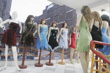 Mannequins are seen in a store in Lima