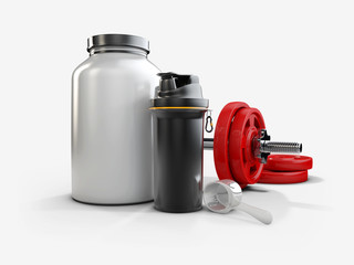 Realistic sport nutrition containers and Smartshacke without label and red dumbbells, 3d Illustration