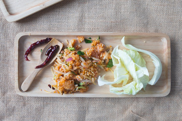 Yam Naem Khao Thot , Recipe Spicy Salad of Curried Rice
