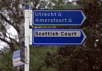 ROAD SIGN POINTS THE WAY TO THE SCOTTISH COURT AT CAMP ZEIST.