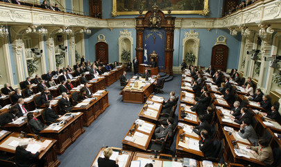 Quebec's Premier Charest speaks during question period at the National Assembly in Quebec City