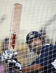 India's Tendulkar bats in the nets during a cricket training session in Cuttack