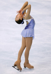 Japan's skater Mao Asada practices her free skating program during a training session before the Bompard Trophy event at Bercy in Paris