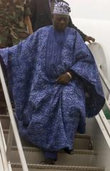 NIGERIAN PRESIDENT OLUSEGUN OBASANJO ARRIVES AT ROBERTS INTERNATIONALAIRPORT IN MONROVIA.