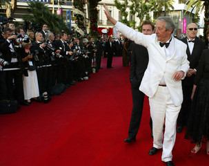 VETERAN FRENCH ACTOR ROCHEFORT WAVES AT 56TH INTERNATIONAL FILMFESTIVAL IN CANNES.