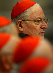 ITALIAN CARDINAL SODANO LOOKS ON DURING FUNERAL SERVICE IN SAINT PETER'S BASILICA AT THE VATICAN.