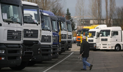 Trucks of German truckmaker MAN AG are parked at the MAN truck construction plant in Munich