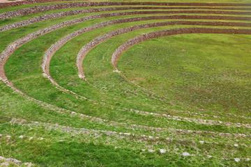 Round ancient inca terraces
