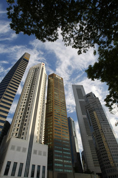 Office buildings of housing banks and wealth management funds are pictured in Singapore's financial district