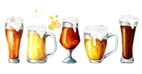 Different varieties of beer. Watercolor