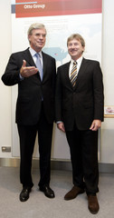 Michael Otto, chairman of OTTO group, the world's largest mail-order company and Hans-Otto Schrader, member of the management board and Otto's successor from October 10, 2007 pose at the headquarters in Hamburg