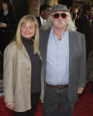 "SINGER DAVID CROSBY AND WIFE JAN POSE AT LOS ANGELES PREMIERE OF""INSOMNIA""."