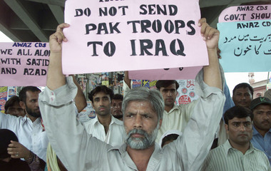 A PEACE ACTIVIST PROTESTS AGAINST THE KILLING OF TWO PAKISTANIS IN IRAQ.