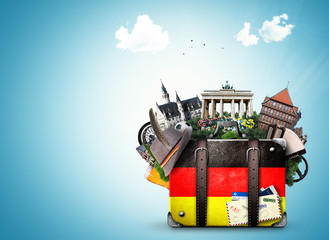 Germany, german landmarks, travel and retro suitcase Wall mural