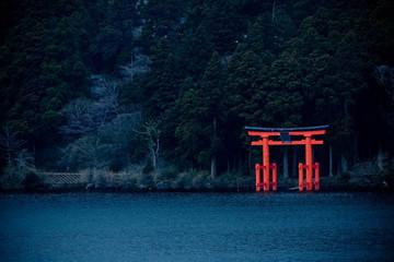 Japanese shrine Torii gate on the shore Wall mural