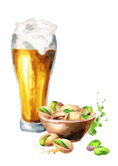 Beer and a bowl of nuts pistachios. Watercolor