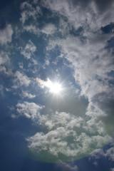 太陽と青空と雲「空想・太陽と雲のモンスターの群れ」(仲間、躍進、未来、紫外線などのイメージ)