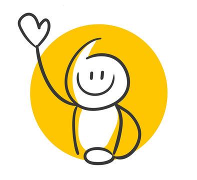 Gelbe Strichfigur winkt mit der Hand