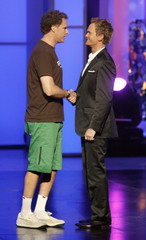 Actor Will Ferrell greets host Neil Patrick Harris during the 7th annual TV Land Awards in Los Angeles