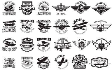 Set of airplane training center emblems. Design elements for logo, label, emblem, sign. Vector illustration. Wall mural