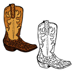 Hand drawn Cowboy boots illustration. Design element for poster, flyer. Vector illustration