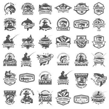 Big set of fishing icons. Carp fishing, trout fishing, bass fishing, pike fishing. Design elements for logo, label, emblem, sign. Vector illustration.