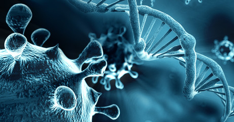 Obraz DNA structure and HIV-infected, blue background - fototapety do salonu