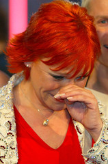 GERMAN SINGER LOU CELEBRATES AFTER WINNING GERMAN PRE SELECTION OFEUROVISION SONG CONTEST IN KIEL.