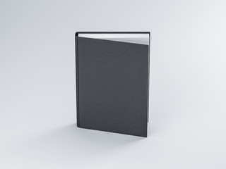 Black blank Book Mockup with textured cover, Slightly open, 3d rendering