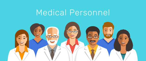 Doctors and nurses team cheerful portraits. Health care flat vector background. Professional hospital services concept. Medical staff smiling faces. Multicultural men therapists with female physicians