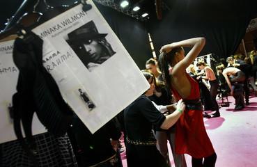 Models get prepared before Aminaka Wilmont's  Autumn/Winter 2008 show at London Fashion Week