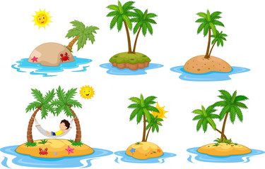 Cartoon tropical island  collection set