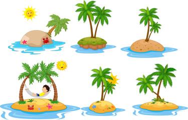 Cartoon tropical island  collection set
